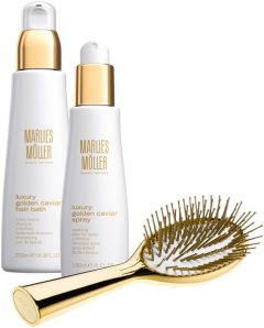 Marlies Möller Luxury Golden Caviar Set 7 = Hair Bath 200 ml + Spray 150 ml + Luxus Goldbürste