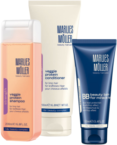 Marlies Möller Cleansing Softness Set 4 = Veggie Protein Shampoo 200 ml + Veggie Protein Conditioner 200 ml + BB Beauty Balm for Miracle Hair 100 ml