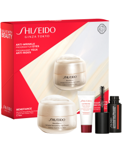 Shiseido Benefiance Set = Wrinkle Smooth. Eye Cream 15 ml + UTM Powder Infus.Concentrate. 5 ml + Controlled Chaos Mini Mascara
